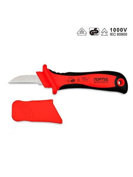 Нож кабельный изолированный 1000V VDE с прямым лезвием SFAA5020V4 TOPTUL