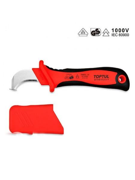 Нож кабельный изолированный 1000V VDE с загнутым лезвием SFAB5020V4 TOPTUL