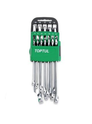 Набор ключей комбинированных с трещоткой 8-19мм 10ед. на холдере GSCQ1001 TOPTUL