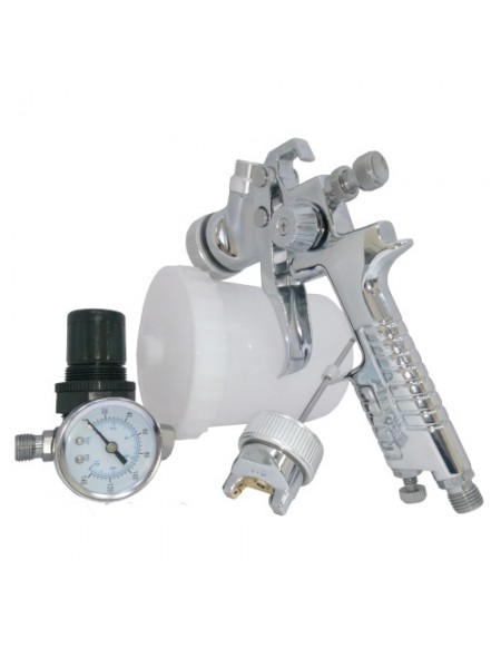Набор покрасочный пневматический H-827 с регулятором воздуха, тип HVLP верхний пластиковый бачок, диаметр форсунок 1,3 и 1,7 KIT-H-827-1.3-1.7