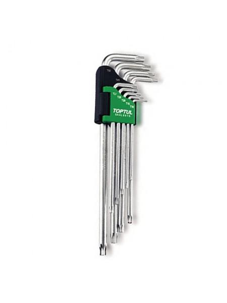Набор Г-обр. ключей TORX T10-T50 9ед. супердл. с отверстием GAAL0915