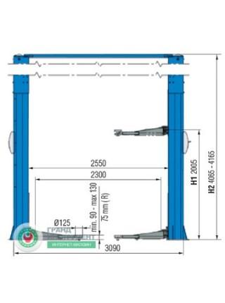 Подъемник автомобильный 2-х стоечный 4т KPH370-40KEX